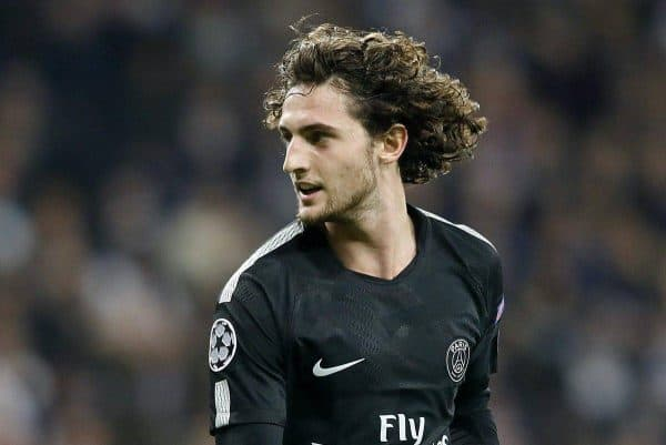 Paris Saint-Germain's Adrien Rabiot celebrates goal during Champions League Round of 16 1st leg match. February 14,2018. (Photo by Acero/Alter Photos/Sipa USA)