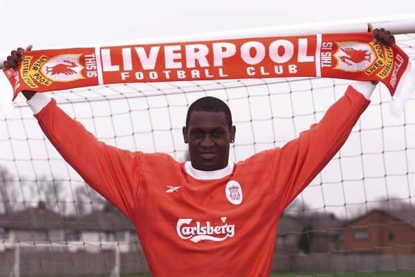 Emile Heskey signing, unveiled at Melwood, March 2000 (Magi Haroun/EMPICS Sport)