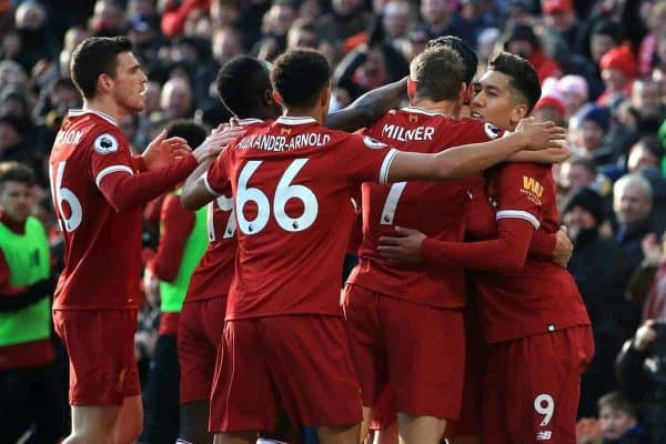 Liverpool's Emre Can (second right) celebrates scoring his side's first goal of the game with team mates during the Premier League match at Anfield, Liverpool. (Peter Byrne/PA Wire/PA Images)