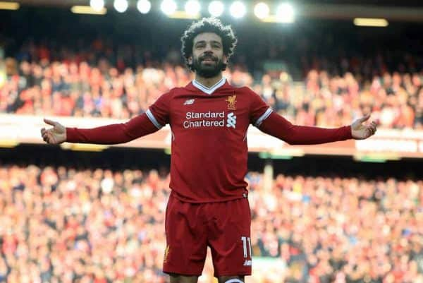 Liverpool's Mohamed Salah celebrates scoring his side's second goal of the game during the Premier League match at Anfield, Liverpool. (Peter Byrne/PA Wire/PA Images)