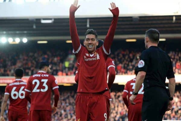Liverpool's Roberto Firmino celebrates scoring his side's third goal of the game during the Premier League match at Anfield, Liverpool. (Peter Byrne/PA Wire/PA Images)