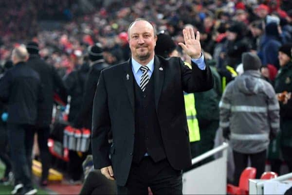 """Newcastle United manager Rafael Benitez during the Premier League match at Anfield, Liverpool. PRESS ASSOCIATION Photo. Picture date: Saturday March 3, 2018. See PA story SOCCER Liverpool. Photo credit should read: Anthony Devlin/PA Wire. RESTRICTIONS: EDITORIAL USE ONLY No use with unauthorised audio, video, data, fixture lists, club/league logos or """"live"""" services. Online in-match use limited to 75 images, no video emulation. No use in betting, games or single club/league/player publications"""