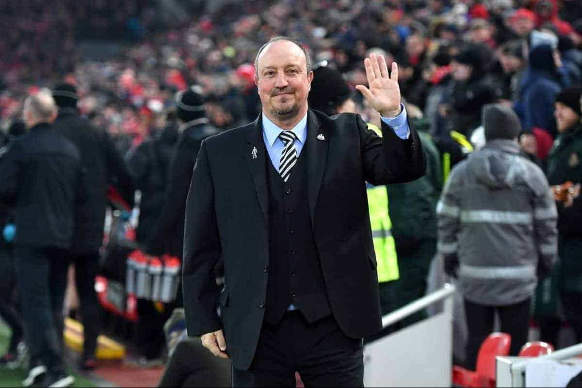 "Newcastle United manager Rafael Benitez during the Premier League match at Anfield, Liverpool. PRESS ASSOCIATION Photo. Picture date: Saturday March 3, 2018. See PA story SOCCER Liverpool. Photo credit should read: Anthony Devlin/PA Wire. RESTRICTIONS: EDITORIAL USE ONLY No use with unauthorised audio, video, data, fixture lists, club/league logos or ""live"" services. Online in-match use limited to 75 images, no video emulation. No use in betting, games or single club/league/player publications"