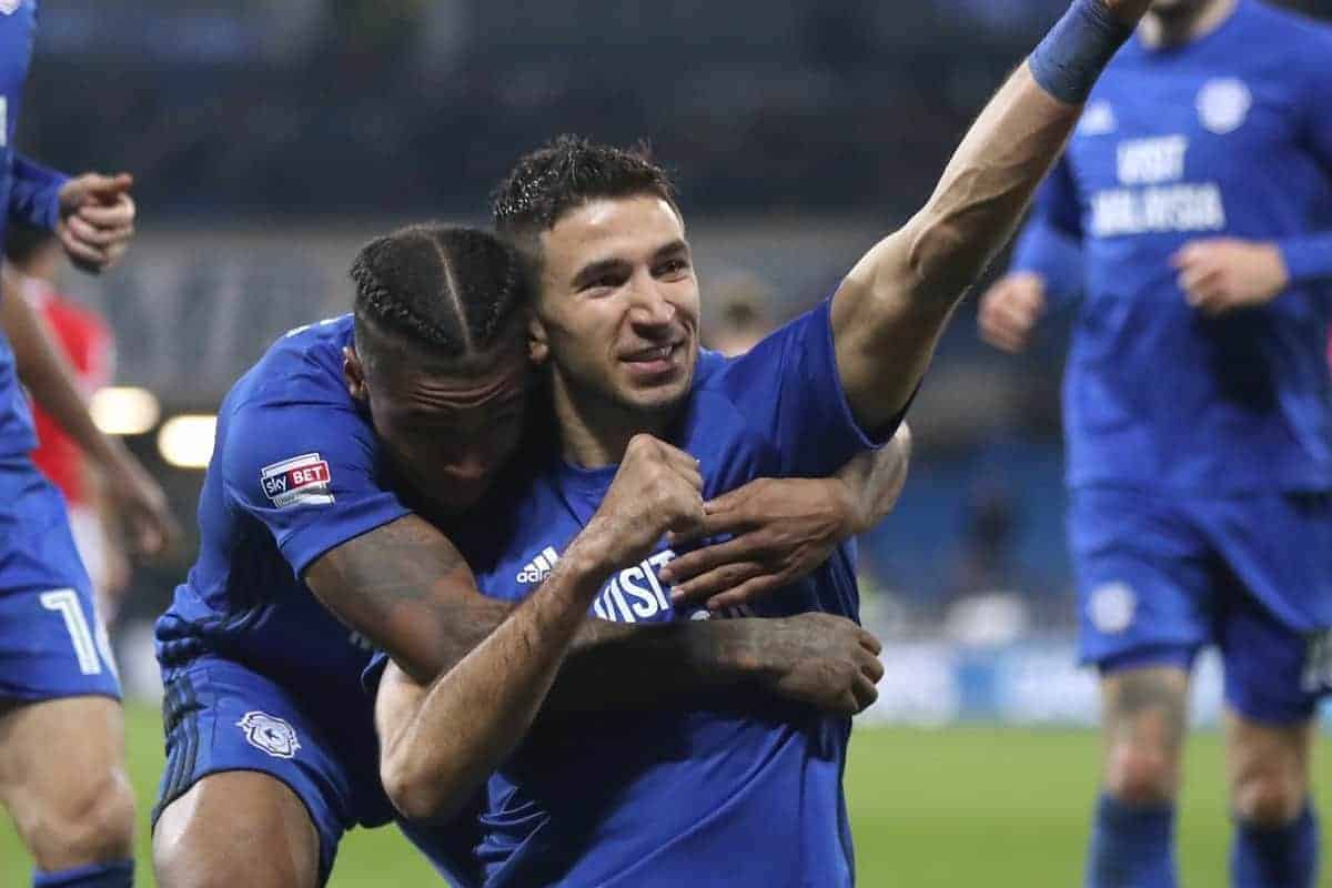Cardiff City's Marko Grujic celebrates scoring his side's second goal of the game during the Sky Bet Championship match at Cardiff City Stadium (Nick Potts/PA Wire/PA Images)
