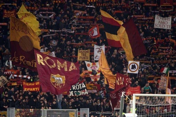 As Roma supporters in action during the match at Stadio Olimpico in Rome.