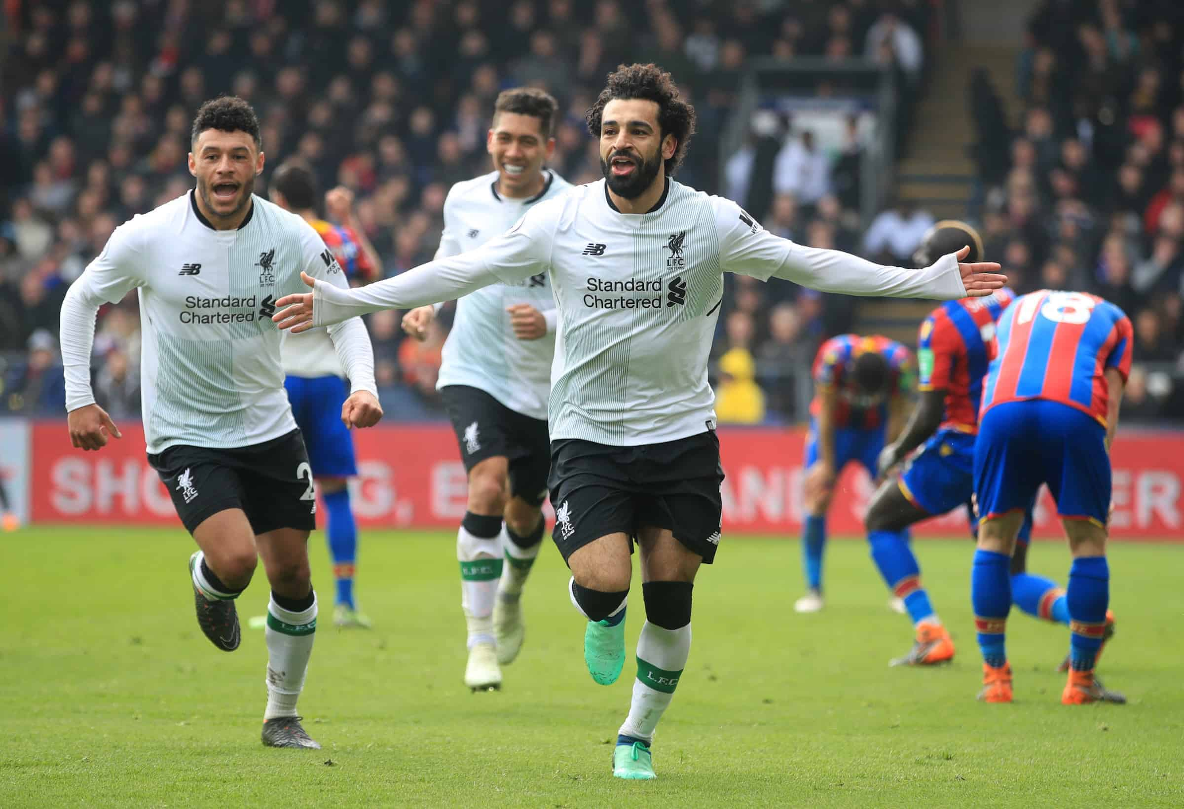 Liverpool's Mohamed Salah celebrates scoring his side's second goal of the game during the Premier League match at Selhurst Park, London. (Adam Davy/PA Wire/PA Images0