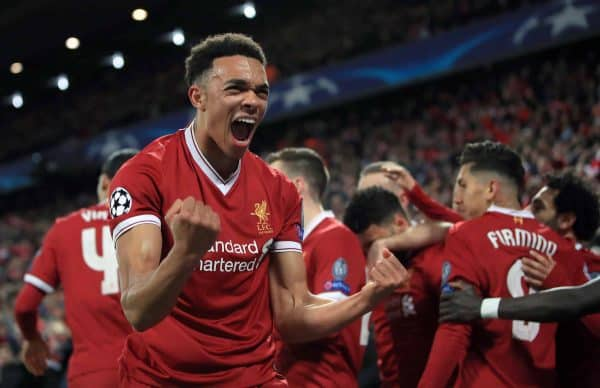 Liverpool's Trent Alexander-Arnold celebrates after Alex Oxlade-Chamberlain (background) scores his side's second goal of the game during the UEFA Champions League quarter final, first leg match at Anfield, Liverpool. ( Peter Byrne/PA Wire/PA Images)
