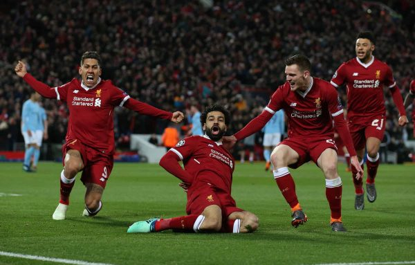 Mohamed Salah of Liverpool (c) celebrates scoring the first goal during the Champions League Quarter Final 1st Leg, match at Anfield Stadium, Liverpool. Picture date: 4th April 2018. Picture credit should read: Simon Bellis/Sportimage via PA Images