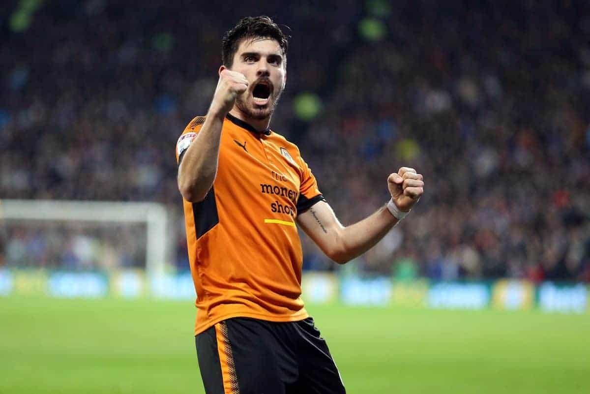 "Wolverhampton Wanderers Ruben Neves celebrates scoring the opening goal during the Sky Bet Championship match at the Cardiff City Stadium. PRESS ASSOCIATION Photo. Picture date: Friday April 6, 2018. See PA story SOCCER Cardiff. Photo credit should read: Nigel French/PA Wire. RESTRICTIONS: EDITORIAL USE ONLY No use with unauthorised audio, video, data, fixture lists, club/league logos or ""live"" services. Online in-match use limited to 75 images, no video emulation. No use in betting, games or single club/league/player publications."