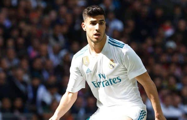 "Marco Asensio (Real), APRIL 8, 2018 - Football / Soccer : Spanish ""La Liga Santander"" match between Real Madrid CF 1-1 Club Atletico de Madrid at the Santiago Bernabeu Stadium in Madrid, Spain. (Photo by Mutsu Kawamori/AFLO) [3604]"