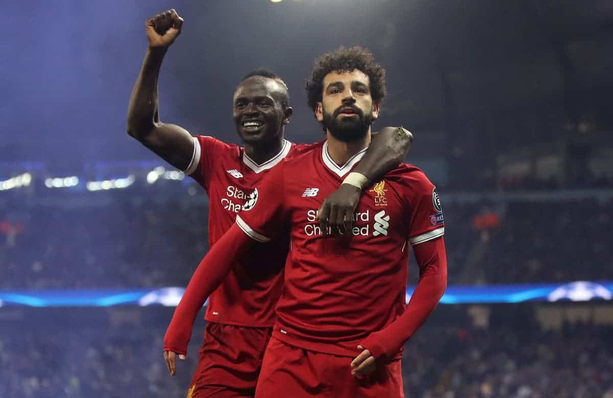 Liverpool's Mohamed Salah celebrates scoring his side's first goal of the game with Sadio Mane during the UEFA Champions League, Quarter Final at the Etihad Stadium, Manchester. PRESS ASSOCIATION Photo. Picture date: Tuesday April 10, 2018. See PA story SOCCER Man City. Photo credit should read: Nick Potts/PA Wire