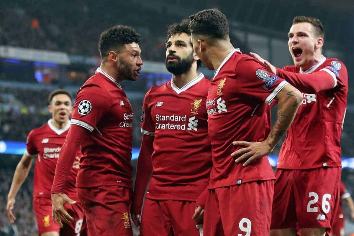 Liverpool's Mohamed Salah celebrates scoring his side's first goal of the game during the UEFA Champions League, Quarter Final at the Etihad Stadium, Manchester. PRESS ASSOCIATION Photo. Picture date: Tuesday April 10, 2018. See PA story SOCCER Man City. Photo credit should read: Nick Potts/PA Wire