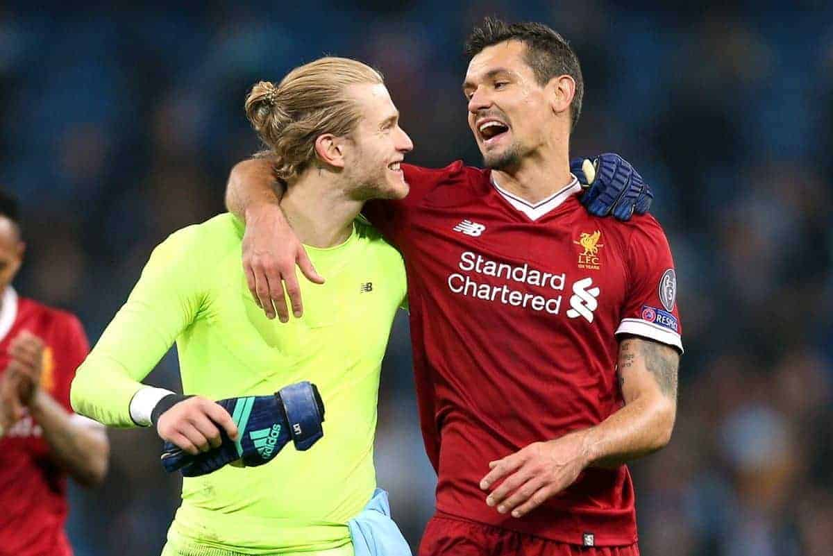 Liverpool goalkeeper Loris Karius and Dejan Lovren celebrate at the end of the match - Nigel French/EMPICS Sport