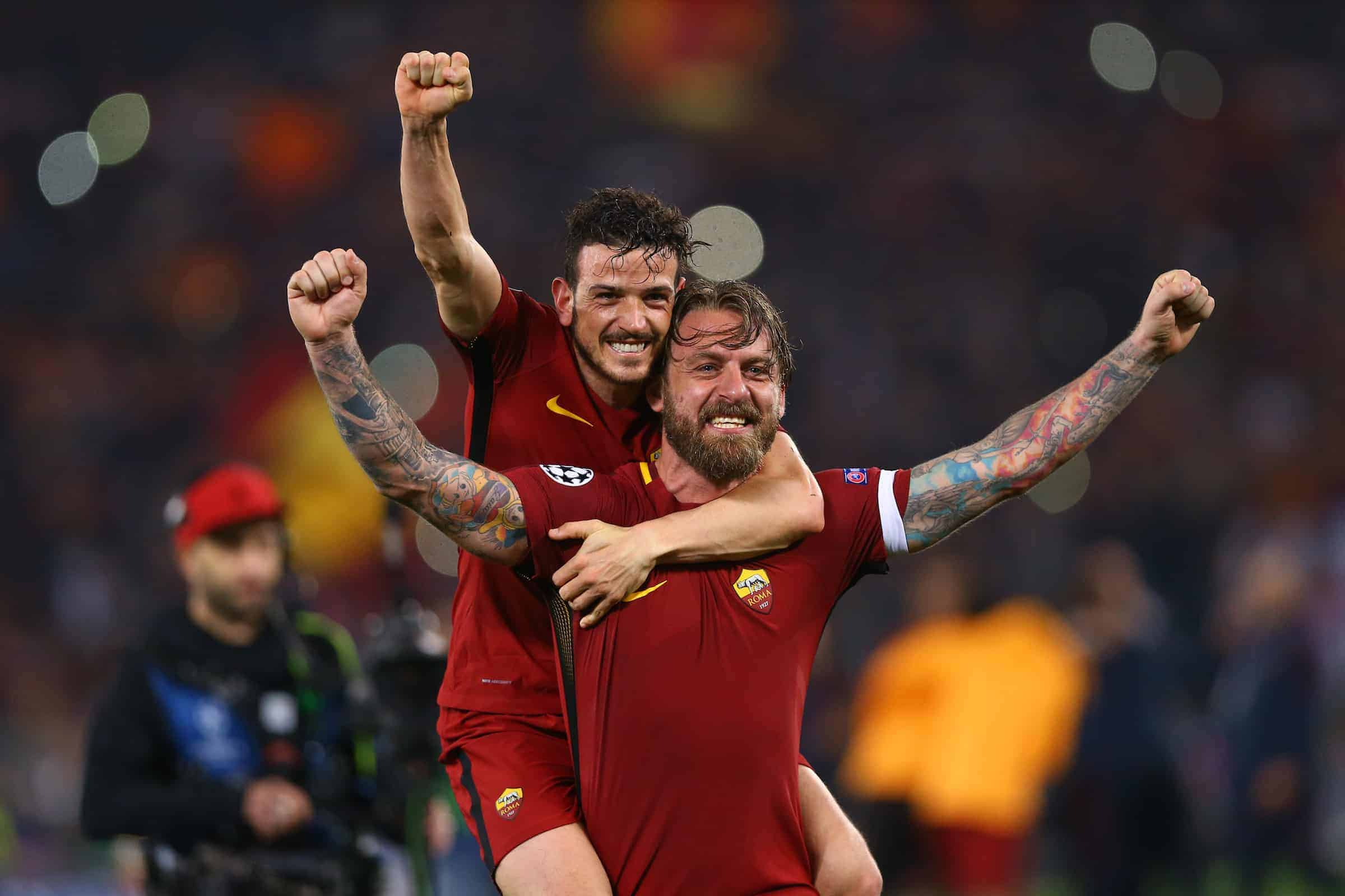 Alessandro Florenzi and Daniele De Rossi of Roma celebrate at Olimpico Stadium in Rome, Italy on April 10, 2018. (Photo by Matteo Ciambelli/NurPhoto/Sipa USA)