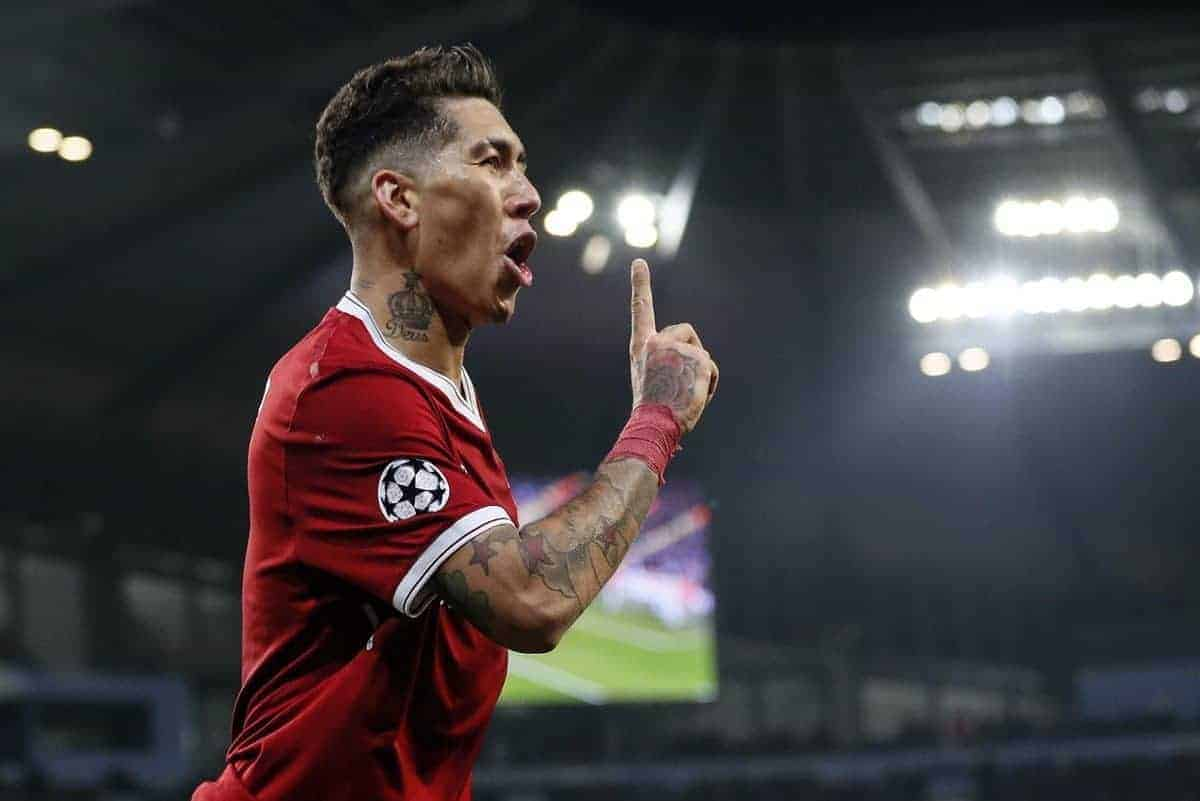 Liverpool's Roberto Firmino celebrates scoring his sides second goal during the Champions League Quarter Final 2nd Leg match at the Etihad Stadium, Manchester. Picture date: 10th April 2018. Picture credit should read: David Klein/Sportimage via PA Images