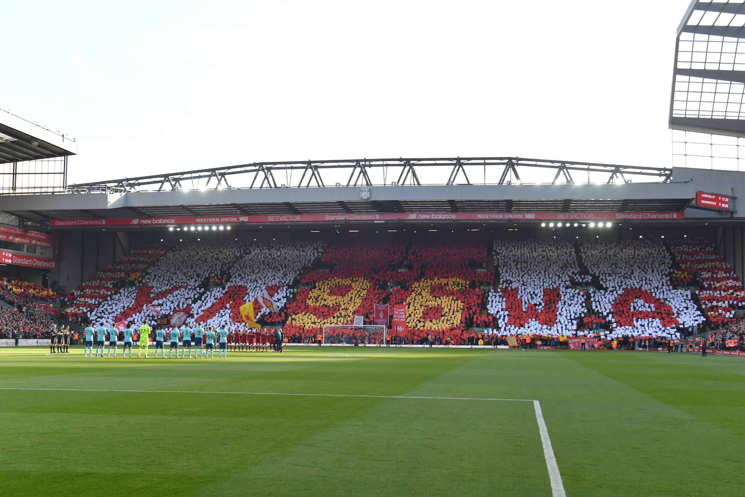 A minute's applause is held to mark the 29th anniversary of the Hillsborough tragedy before the Premier League match at Anfield, Liverpool. PRESS ASSOCIATION Photo. Picture date: Saturday April 14, 2018.. Photo: Anthony Devlin/PA Wire.