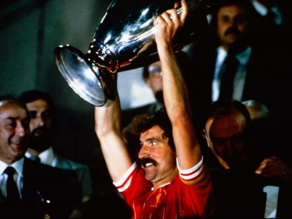 Liverpool captain Graeme Souness celebrates winning the European Cup, 1984 (PA Images)