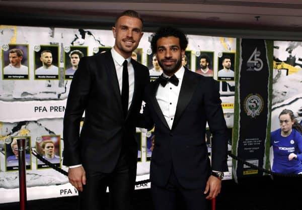 Liverpool's Jordan Henderson (left) and Mohamed Salah arrive for the 2018 PFA Awards at the Grosvenor House Hotel, London.(Photo: John Walton/PA Wire)