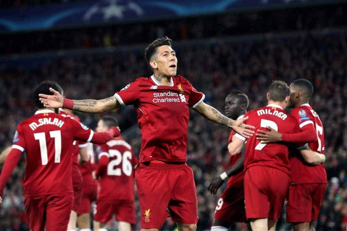 Liverpool's Roberto Firmino celebrates scoring his side's fifth goal of the game (Martin Rickett/EMPICS Sport)