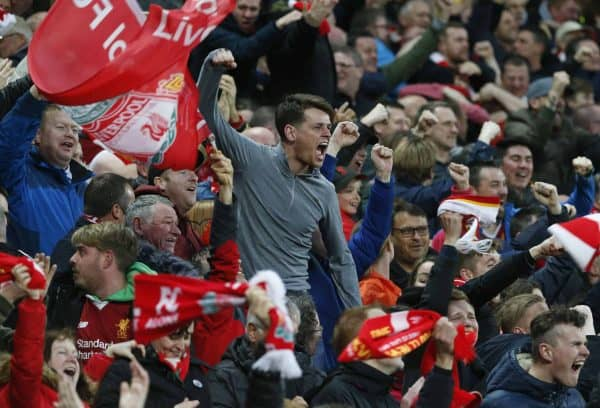 (180425) -- LIVERPOOL, April 25, 2018(Xinhua) -- Supporters of Liverpool celebrate a goal during the UEFA Champions League Semi-finals 1st leg match between Liverpol FC and AS Roma at the Anfield Stadium in Liverpool, Britain on April 24, 2018. Liverpool won 5-2. (Xinhua/Han Yan)(wll)