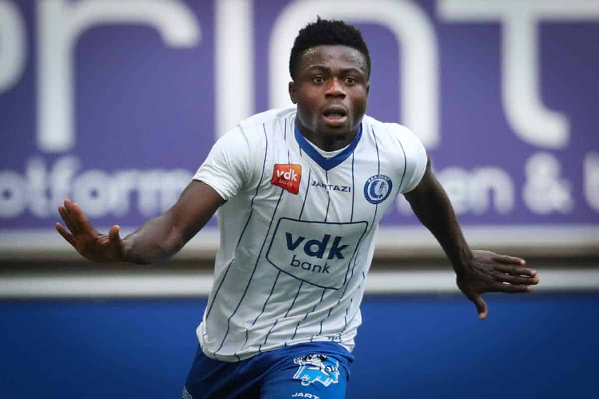 Gent's Moses Simon celebrates after scoring during the Jupiler Pro League match of Play-Off group 1, between KAA Gent and RSC Anderlecht, in Gent, Sunday 13 May 2018, on day nine of the Play-Off 1 of the Belgian soccer championship. BELGA PHOTO VIRGINIE LEFOUR