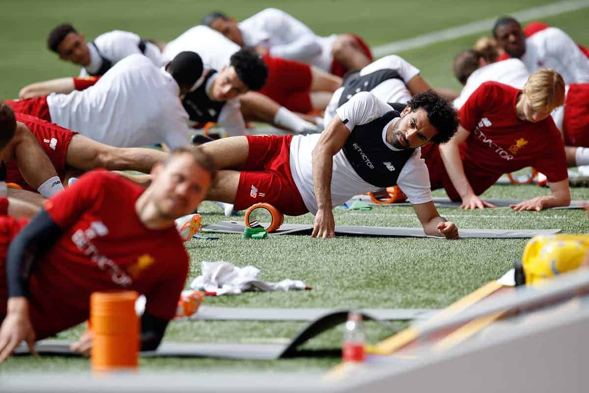 Liverpool's Mohamed Salah during the training session at Anfield, Liverpool - Martin Rickett/PA Wire/PA Images