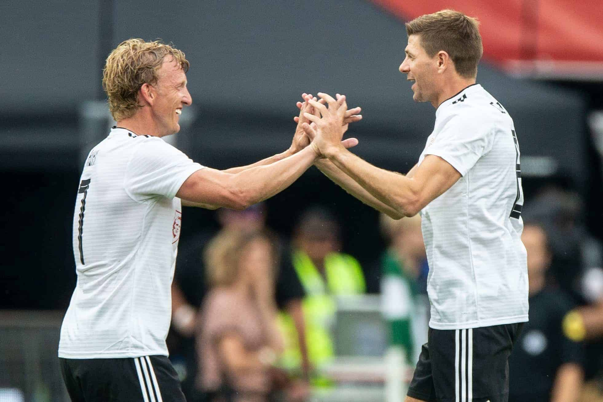 Dirk Kuyt of friends, Steven Gerrard of Friendsteam during the Dirk Kuyt Testimonial match at stadium de Kuip on May 27, 2018 in Rotterdam, the Netherlands
