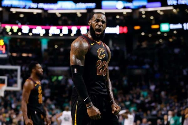 May 27, 2018; Boston, MA, USA; Cleveland Cavaliers forward LeBron James (23) celebrates after drawing foul against the Boston Celtics during the forth quarter in game seven of the Eastern conference finals of the 2018 NBA Playoffs at TD Garden. Mandatory Credit: David Butler II-USA TODAY Sports