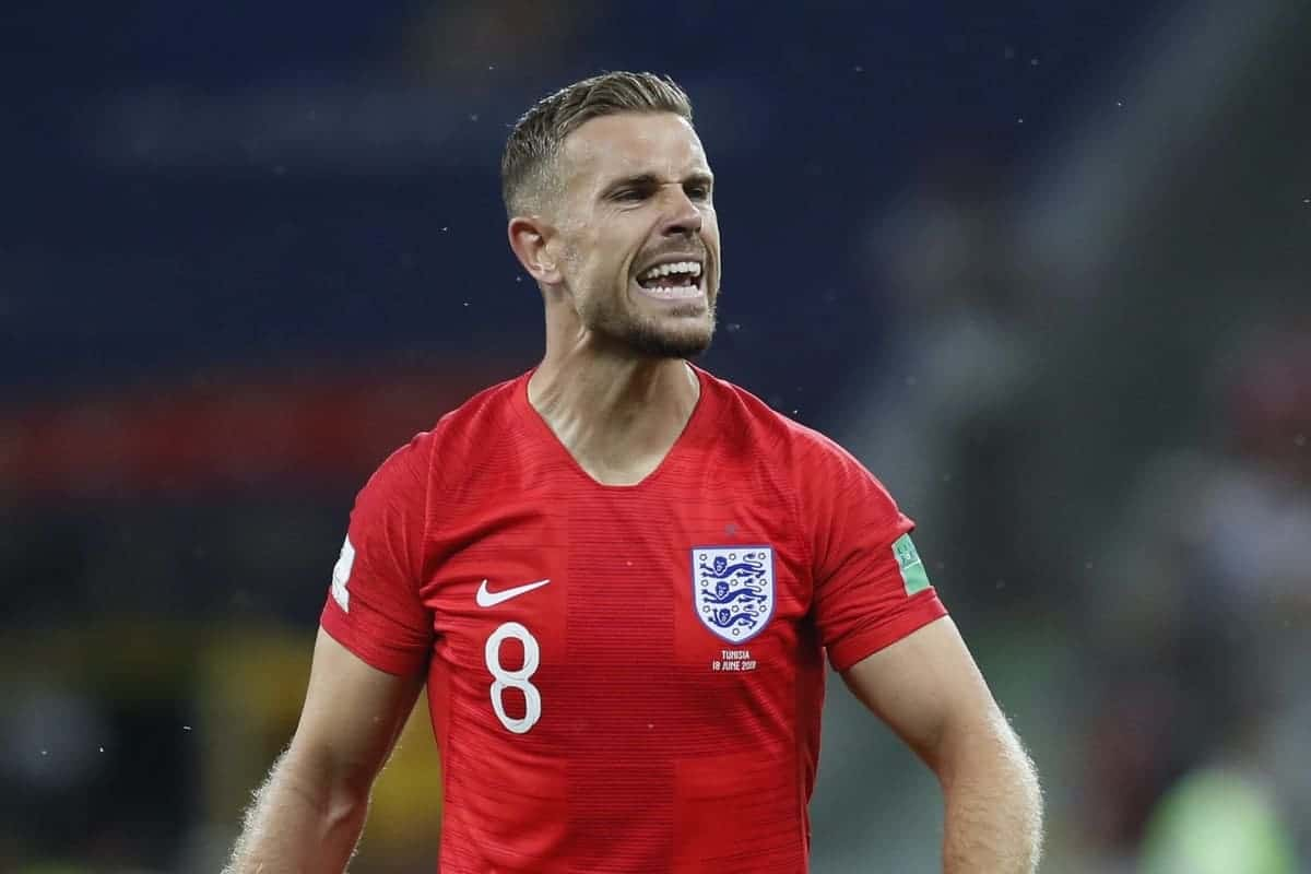 Jordan Henderson of England during the FIFA World Cup 2018 Group G match at the Volgograd Arena, Volgograd. Picture date 18th June 2018. Picture credit should read: David Klein/Sportimage via PA Images