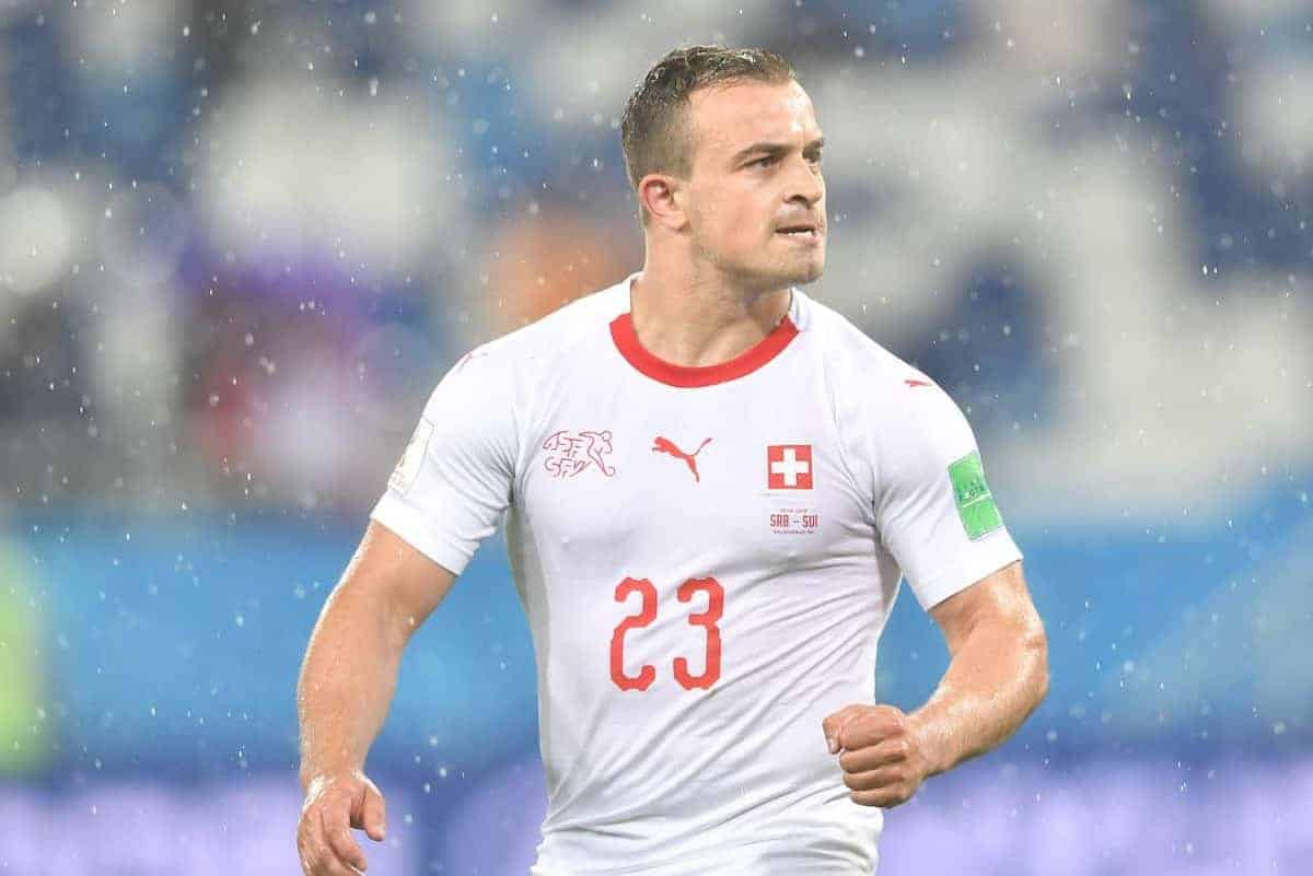 (180622) -- KALININGRAD, June 22, 2018 (Xinhua) -- Xherdan Shaqiri of Switzerland celebrates victory after the 2018 FIFA World Cup Group E match between Switzerland and Serbia in Kaliningrad, Russia, June 22, 2018. Switzerland won 2-1. (Xinhua/Liu Dawei)