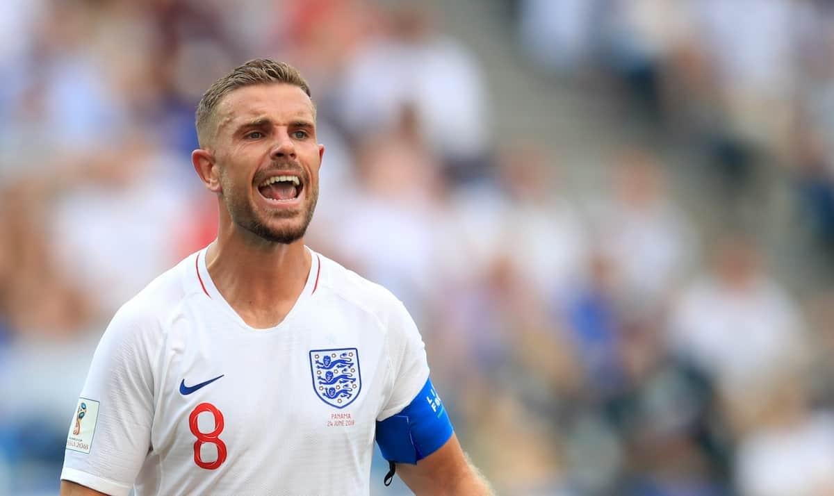England's Jordan Henderson during the FIFA World Cup Group G match at the Nizhny Novgorod Stadium