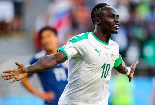 YEKATERINBURG, RUSSIA - JUNE 24, 2018: Senegal's Sadio Mane celebrates scoring in a 2018 FIFA World Cup Group H match against Japan at Yekaterinburg Arena. Sergei Bobylev/TASS