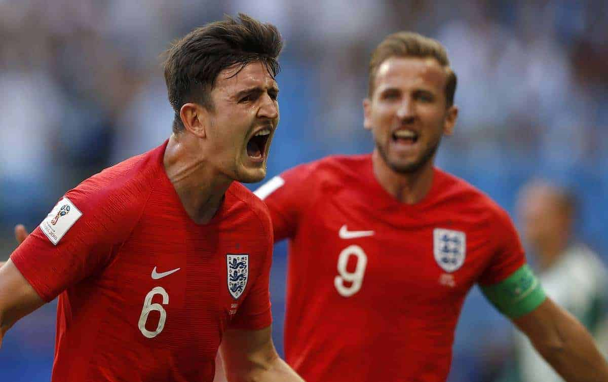 Sweden vs England SAMARA, SA - 07.07.2018: SWEDEN VS ENGLAND - Harry MAGUIRE of England celebrates his goal during the game between Sweden and England valid for the quarterfinals of the 2018 World Cup held at the Samara Arena in Samara, Russia. (Photo: Rodolfo Buhrer/La Imagem/Fotoarena)