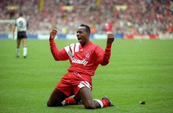 Liverpool's Michael Thomas celebrates scoring the opening goal, FA Cup final 1992 (Ross Kinnaird/EMPICS Sport)