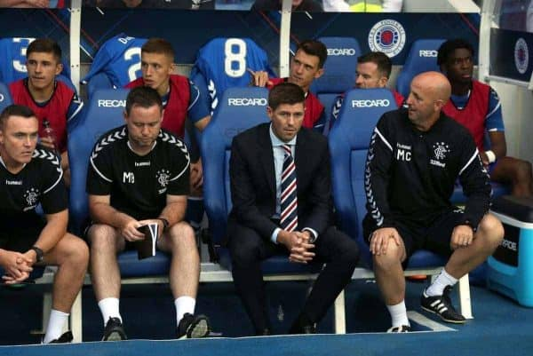 Rangers manager Steven Gerrard during the Europa League, Qualifying Round One, First Leg match at Ibrox, Glasgow. PRESS ASSOCIATION Photo. Picture date: Thursday July 12, 2018. See PA story SOCCER Rangers. Photo credit should read: Andrew Milligan/PA Wire