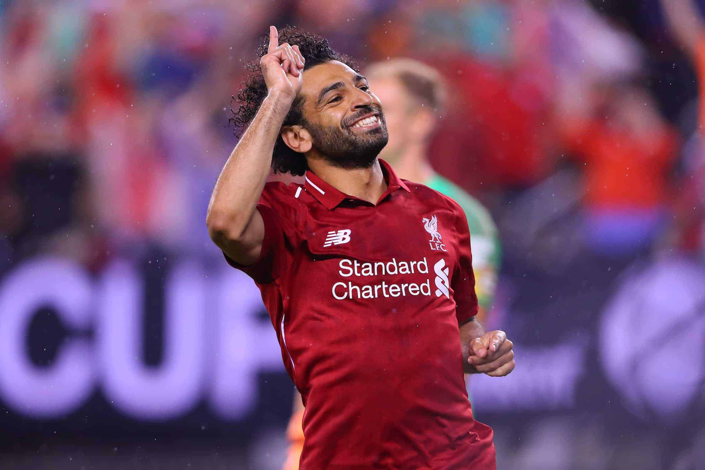 July 25, 2018 - East Rutherford, NJ, U.S. - EAST RUTHERFORD, NJ - JULY 25: Liverpool midfielder Mohamed Salah (11) celebrates after he scores during the second half of the International Champions Cup Soccer game between Liverpool and Manchester City on July 25, 2018 at Met Life Stadium in East Rutherford, NJ. (Photo by Rich Graessle/Icon Sportswire) (Credit Image: © Rich Graessle/Icon SMI via ZUMA Press)