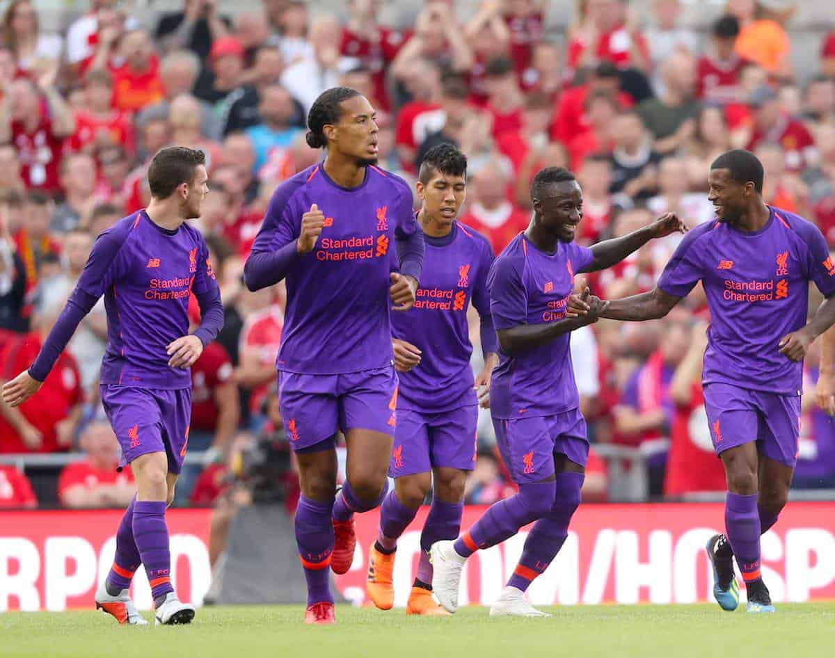 Liverpool's Georginio Wijnaldum (right) celebrates scoring his side's second goal of the game with team mates during the pre-season friendly match at the Aviva Stadium, Dublin. S Niall Carson/PA Wire.
