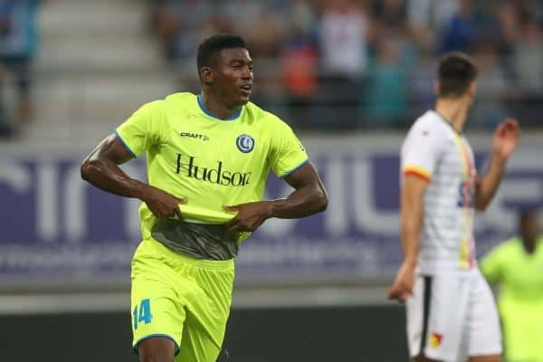 Gent's Taiwo Awoniyi celebrates after scoring during a soccer game between Belgian club KAA Gent and Polish team Jagiellonia Bialystok, Thursday 16 August 2018 in Gent, the return leg of the third qualification round for the Europa League competition. BELGA PHOTO BRUNO FAHY