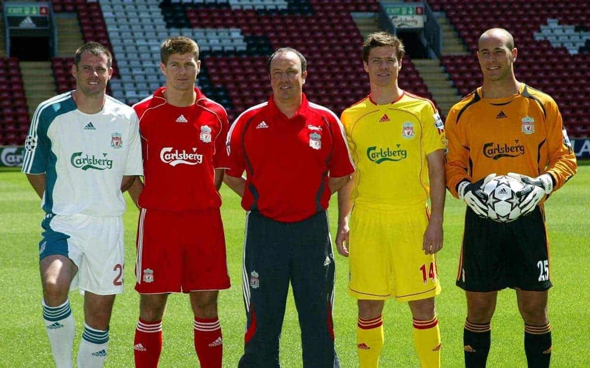 Liverpool manager Rafael Benitez (centre) stands with Jamie Carragher (left to right), Steven Gerrard, Xabi Alonso and Jose Reina as they display the new kits at Anfield Stadium, Liverpool.