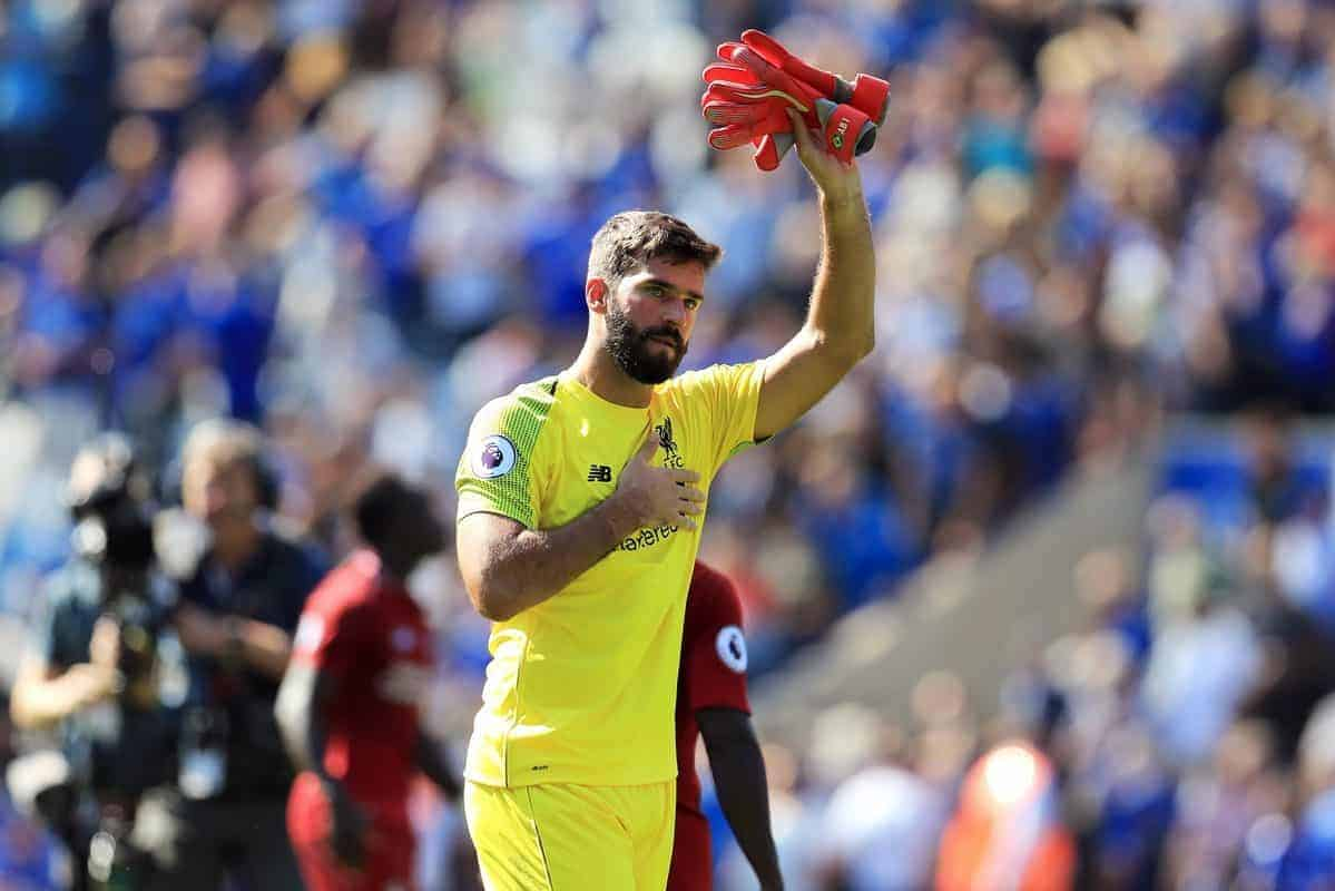 "Liverpool goalkeeper Alisson acknowledges the fans after the Premier League match at the King Power Stadium, Leicester. PRESS ASSOCIATION Photo. Picture date: Saturday September 1, 2018. See PA story SOCCER Leicester. Photo credit should read: Mike Egerton/PA Wire. RESTRICTIONS: EDITORIAL USE ONLY No use with unauthorised audio, video, data, fixture lists, club/league logos or ""live"" services. Online in-match use limited to 120 images, no video emulation. No use in betting, games or single club/league/player publications."