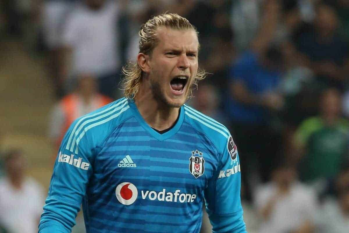 Goalkeeper Loris Karius of Besiktas during the Turkish Superlig Match between Bursaspor and Besiktas at Buyuksehir Belediye Stadium in Bursa , Turkey on September 02 , 2018 (Seskimphoto/Imago/PA Images)