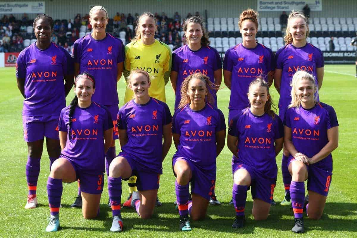 Liverpool FC Women Team during Women's Super League One match between Arsenal and Liverpool FC Women at Boredom Wood in Boredom Wood, England on September 9, 2018. (Photo by Action Foto Sport/NurPhoto/Sipa USA)