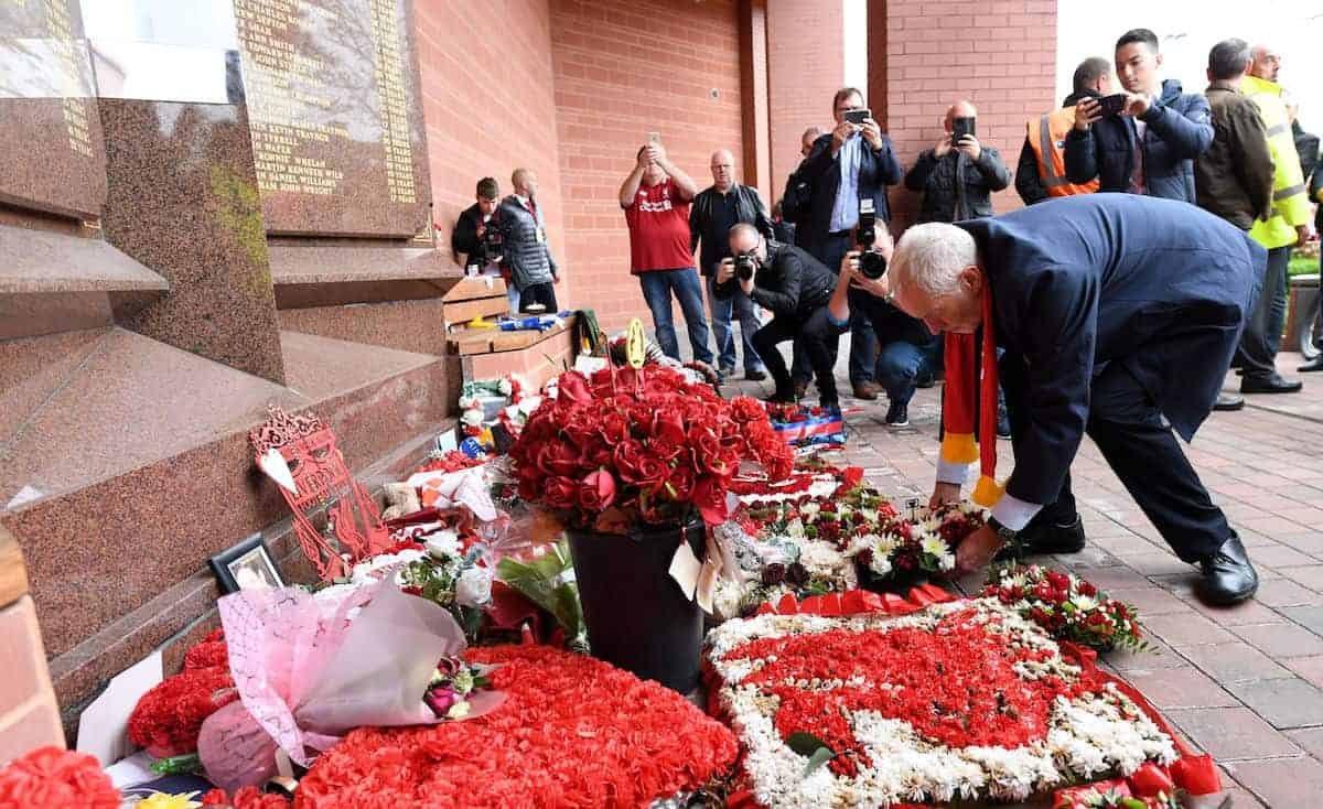 Labour leader Jeremy Corbyn visits the Hillsborough memorial at Anfield in Liverpool before he attends the match between Liverpool and Southampton. ( Stefan Rousseau/PA Wire/PA Images)