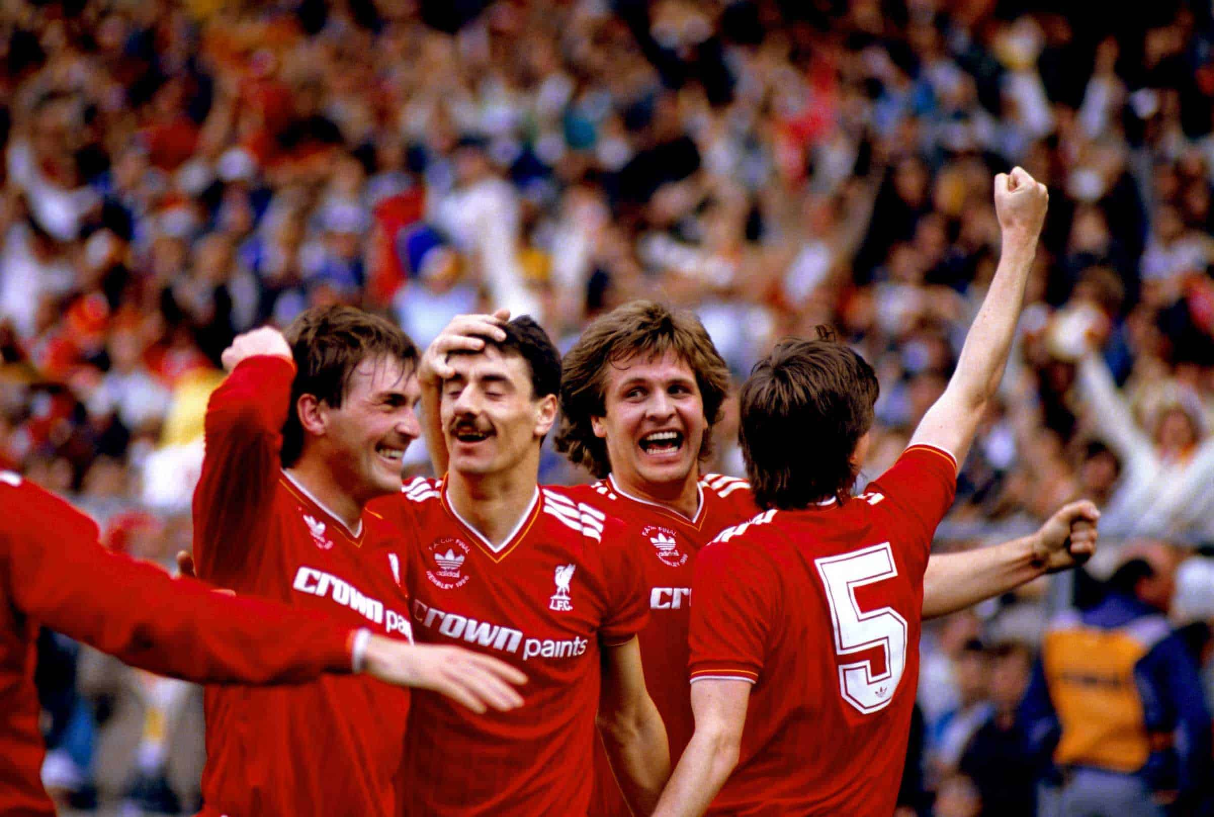 Kenny Dalglish, Jan Molby and Ronnie Whelan congratulate Ian Rush (second l) on one of his two goals vs. Everton in FA Cup Final 1986 (Picture by Peter Robinson EMPICS Sport)