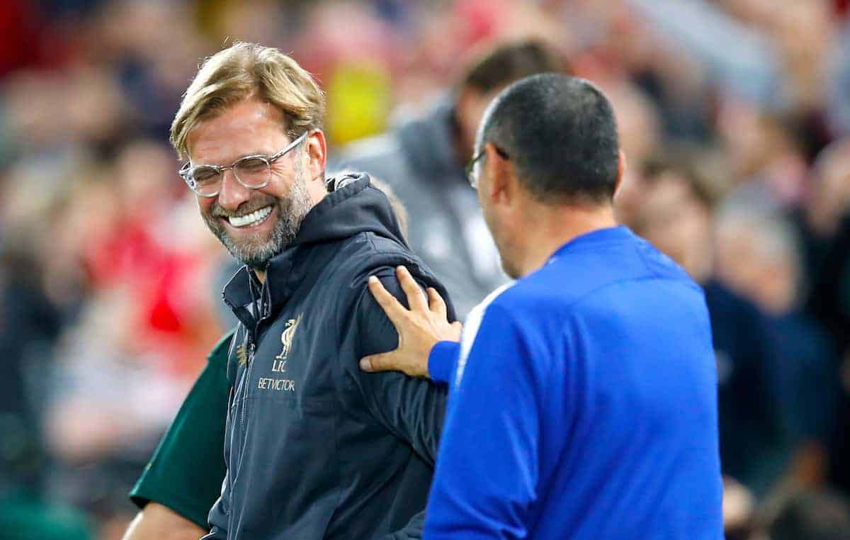 Liverpool manager Jurgen Klopp (left) and Chelsea manager Maurizio Sarri ( Martin Rickett/PA Wire/PA Images)