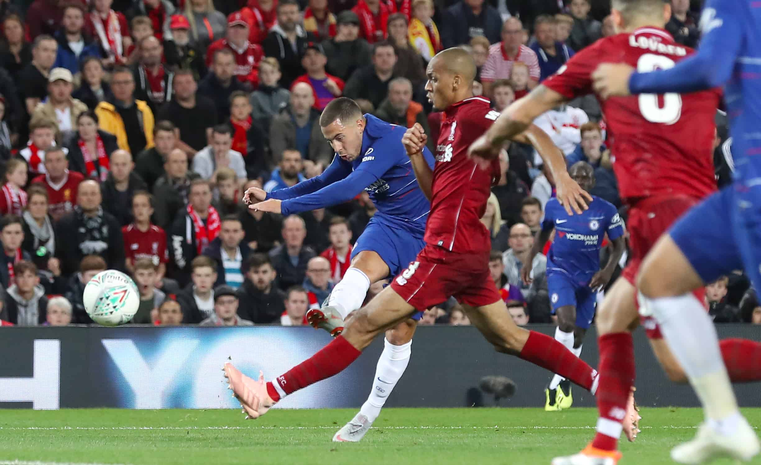 Chelsea's Eden Hazard scores his side's second goal of the game during the Carabao Cup, Third Round match at Anfield, Liverpool. (Martin Rickett/PA Wire/PA Images)