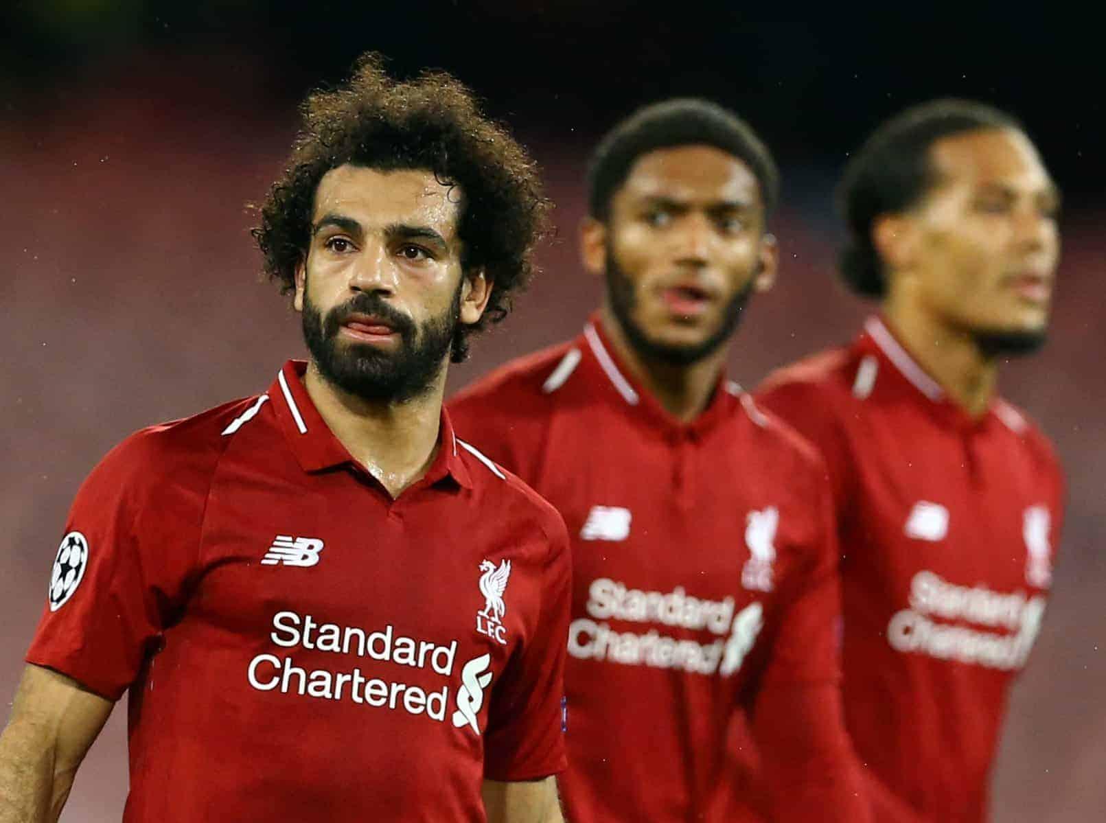 General players - Mohamed Salah, Joe Gomez and Virgil Van Dijk of Liverpool (Photo by Matteo Ciambelli/NurPhoto/Sipa USA)