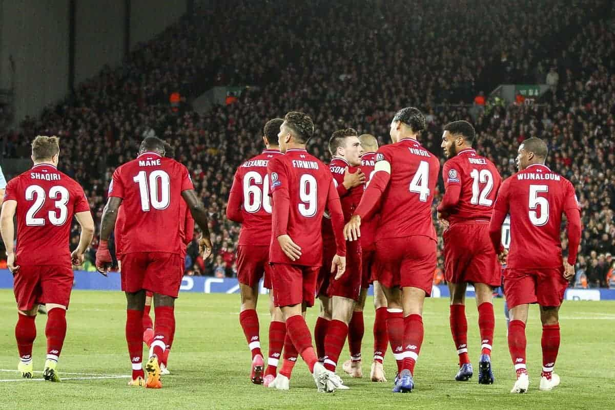 Liverpool forward Roberto Firmino (9) celebrates with his teammates after scoring his goal during the Uefa Champions League Group Stage football match n.3 LIVERPOOL - CRVENA ZVEZDA on 24/10/2018 at the Anfield Road in Liverpool, England. (Photo by Matteo Bottanelli/NurPhoto/Sipa USA)
