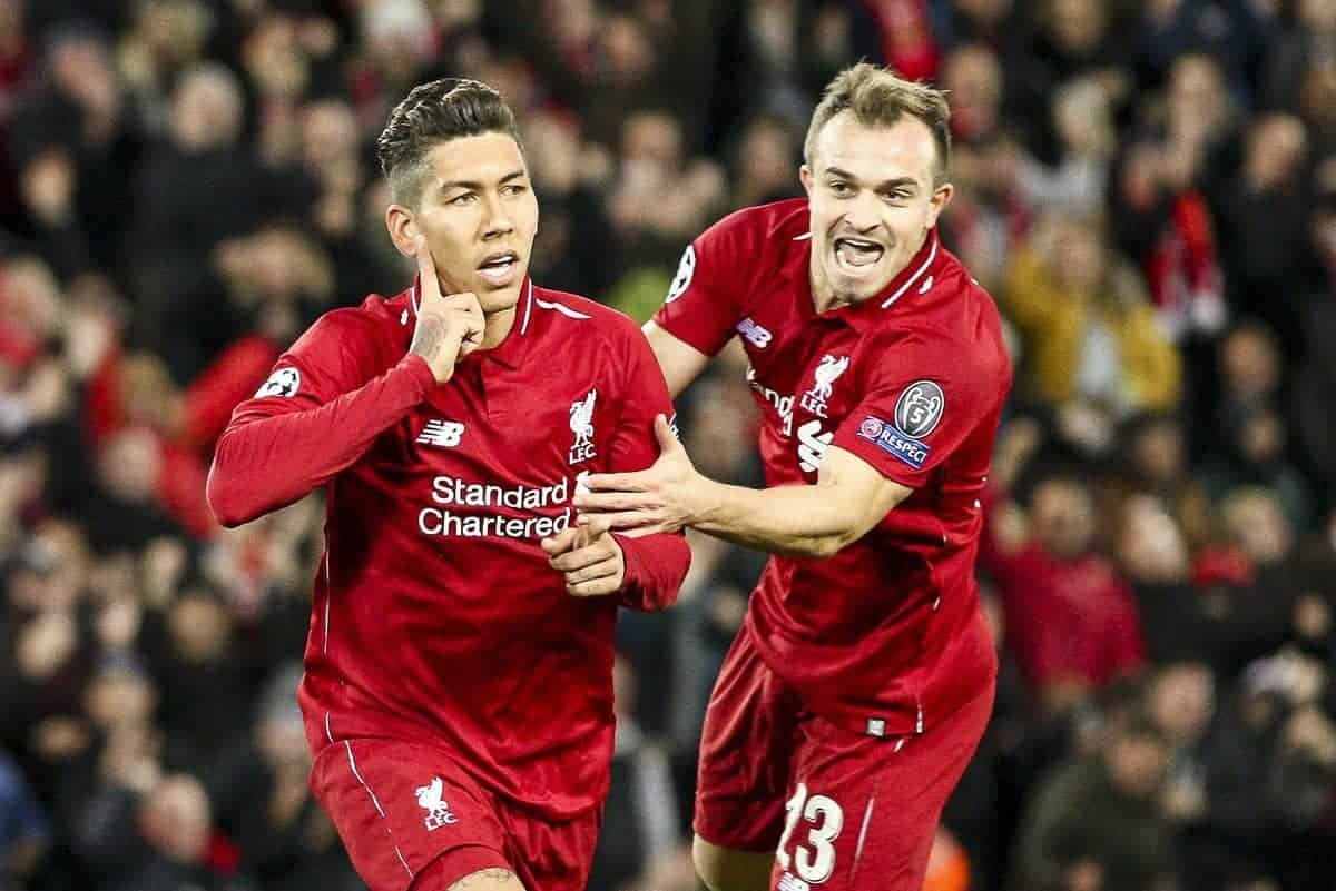 Liverpool forward Roberto Firmino (9) celebrates with Liverpool midfielder Xherdan Shaqiri (23) after scoring his goal during the Uefa Champions League Group Stage football match n.3 LIVERPOOL - CRVENA ZVEZDA on 24/10/2018 at the Anfield Road in Liverpool, England. (Photo by Matteo Bottanelli/NurPhoto/Sipa USA)