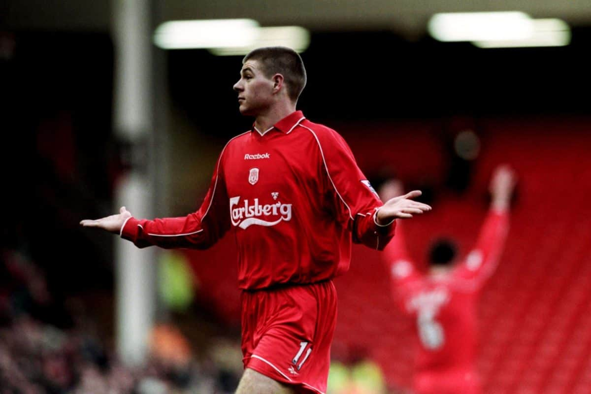 Liverpool's Steven Gerrard shrugs his shoulders after scoring a spectacular goal vs. Southampton, January 2001, Anfield (Nick Potts/EMPICS Sport)